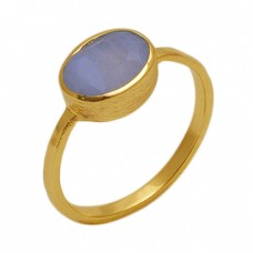 Oval  Shape  Moonstone  Gemstone 925 Sterling Silver Jewelry Gold Plated Ring