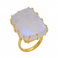Rectangle   Shape Rainbow Moonstone  Gemstone 925 Sterling Silver Jewelry Gold Plated Ring
