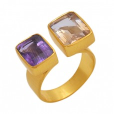 Rectangle Shape  Amethyst Citrine   Gemstone 925 Sterling Silver Jewelry Gold Plated Ring