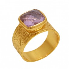 Square  Shape  Amethyst   Gemstone 925 Sterling Silver Jewelry Gold Plated Ring