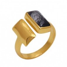 Rectangle  Shape Black Rutile   Gemstone 925 Sterling Silver Jewelry Gold Plated Ring