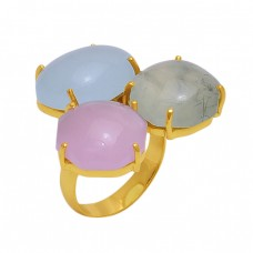 Oval  Shape  Chalcedony Prehnite  Gemstone 925 Sterling Silver Jewelry Gold Plated Ring