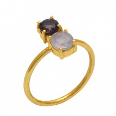 Round  Shape Smoky Quartz Rainbow  Moonstone  Gemstone 925 Sterling Silver Jewelry Gold Plated Ring