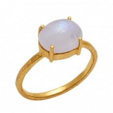 Oval  Shape Rainbow  Moonstone  Gemstone 925 Sterling Silver Jewelry Gold Plated Ring