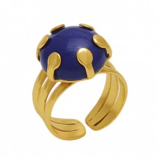 Round  Shape  Sapphire   Gemstone 925 Sterling Silver Jewelry Gold Plated Ring