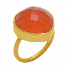 Round   Shape  Carnelian Gemstone 925 Sterling Silver Jewelry Gold Plated Ring