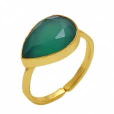 Pear  Shape Green Onyx   Gemstone 925 Sterling Silver Jewelry Gold Plated Ring