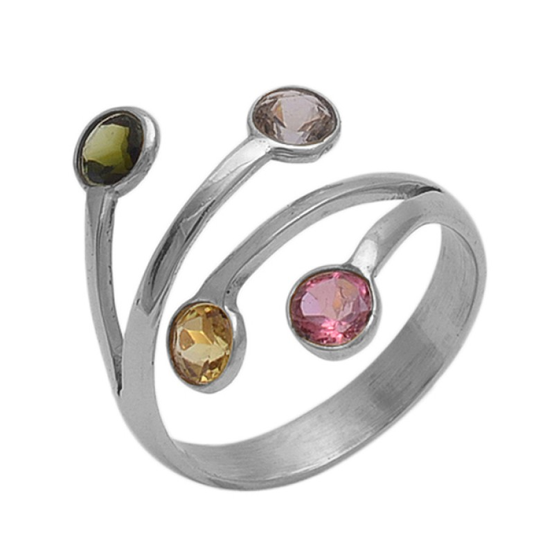 Round  Shape Pink Quartz Citrine Tanzanite  Gemstone 925 Sterling Silver Jewelry Gold Plated Ring