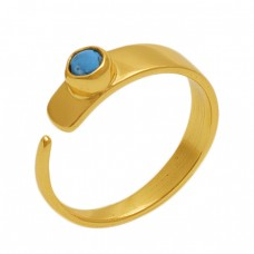 Round  Shape  Turquoise   Gemstone 925 Sterling Silver Jewelry Gold Plated Ring