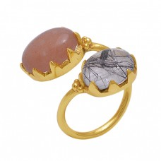 Oval  Shape Moonstone  Black Rutile   Gemstone 925 Sterling Silver Jewelry Gold Plated Ring