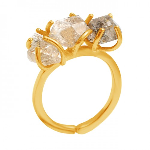 Prong Setting Herkimer Gemstone Uncut Shape 925 Sterling Silver Handcrafted Gold Plated Ring