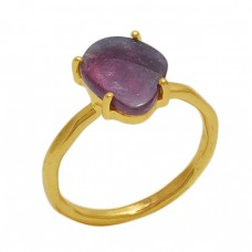 Fancy Shape Tourmaline  Gemstone 925 Sterling Silver Jewelry Gold Plated Ring