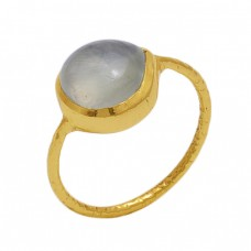Round  Shape Prehnite  Gemstone 925 Sterling Silver Jewelry Gold Plated Ring