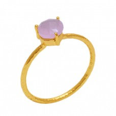 Round  Shape Rose Chalcedony   Gemstone 925 Sterling Silver Jewelry Gold Plated Ring