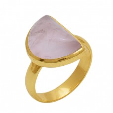 Fancy Shape Pink Quartz   Gemstone 925 Sterling Silver Jewelry Gold Plated Ring