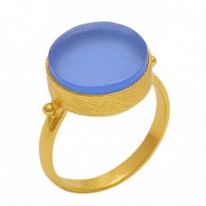 Round  Shape Blue Chalcedony   Gemstone 925 Sterling Silver Jewelry Gold Plated Ring