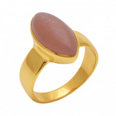 Oval  Shape Peach  Moonstone  Gemstone 925 Sterling Silver Jewelry Gold Plated Ring