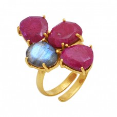 Oval Shape Ruby Labradorite   Gemstone 925 Sterling Silver Jewelry Gold Plated Ring