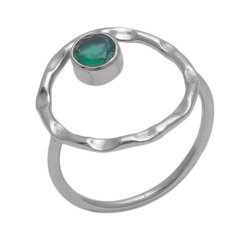 Round  Shape Green Onyx   Gemstone 925 Sterling Silver Jewelry Gold Plated Ring