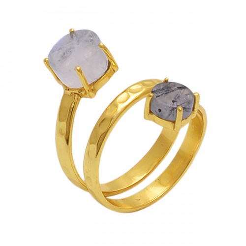 Round Shape Rainbow Moonstone  Black Rautile  Gemstone 925 Sterling Silver Jewelry Gold Plated Ring