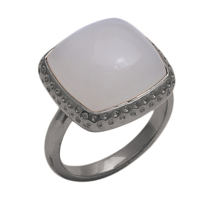 Square  Shape White   Moonstone  Gemstone 925 Sterling Silver Jewelry Gold Plated Ring