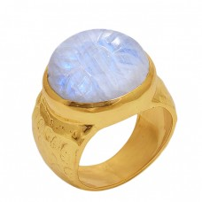 Round   Shape Rainbow   Moonstone  Gemstone 925 Sterling Silver Jewelry Gold Plated Ring