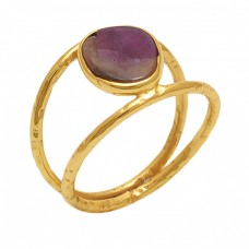 Fancy  Shape Fancy   Gemstone 925 Sterling Silver Jewelry Gold Plated Ring