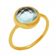 Blue Topaz Round Briolette Cut Shape Gemstone 925 Sterling Silver Gold Plated Jewelry Ring