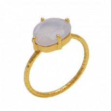 Oval Shape White Moonstone  Gemstone 925 Sterling Silver Jewelry Gold Plated Ring