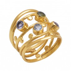 Round  Shape Tanzanite Peridot Blue Topaz Garnet  Gemstone 925 Sterling Silver Jewelry Gold Plated Ring