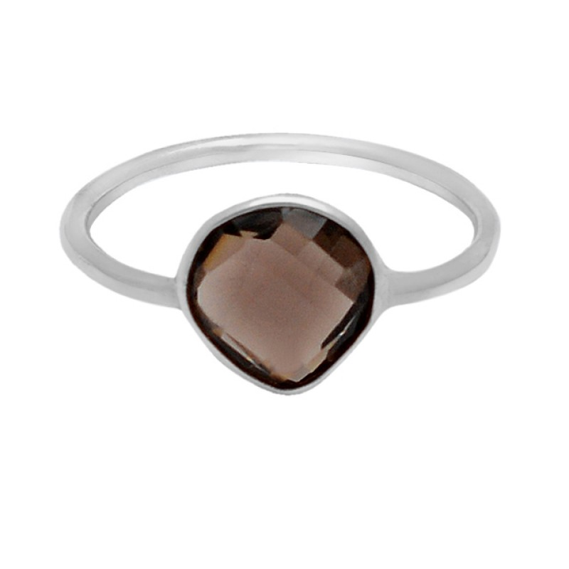 Briolette Heart Shape Smoky Quartz Gemstone 925 Sterling Silver Light Weight Ring