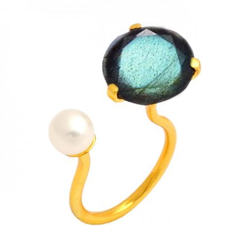 Labradorite Pearl Gemstone Adjustable Designer Ring 925 Sterling Silver Gold Plated Jewellery