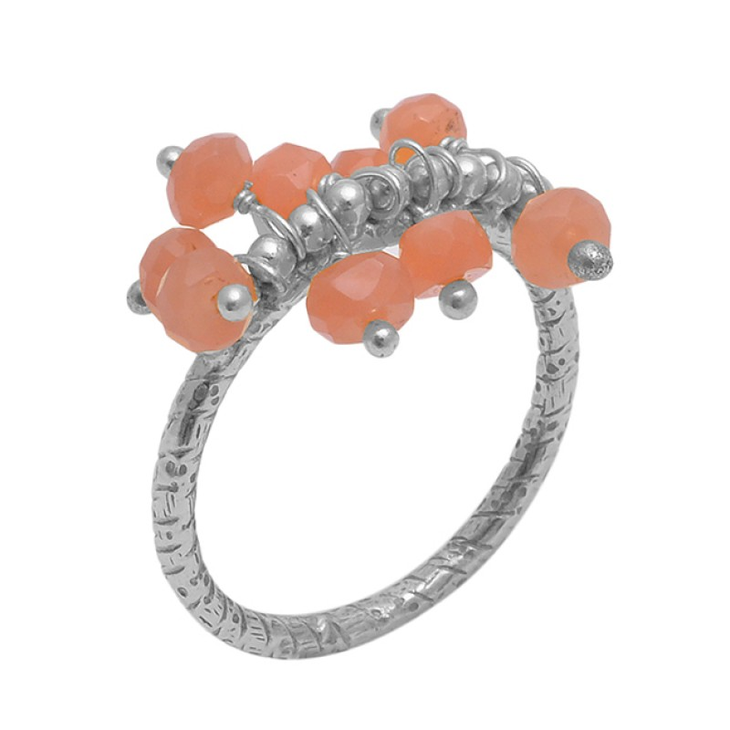 Round  Shape Peach Moonstone  Gemstone 925 Sterling Silver Jewelry Gold Plated Ring