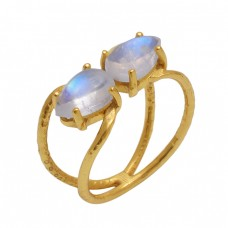 Pear Shape Rainbow Moonstone  Gemstone 925 Sterling Silver Jewelry Gold Plated Ring