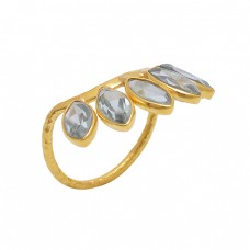 Marquoise  Shape Green Amethyst   Gemstone 925 Sterling Silver Jewelry Gold Plated Ring