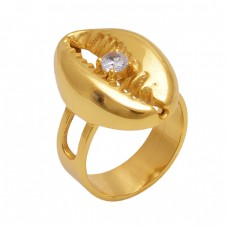 Round  Shape Cubic Zirconia  Gemstone 925 Sterling Silver Jewelry Gold Plated Ring