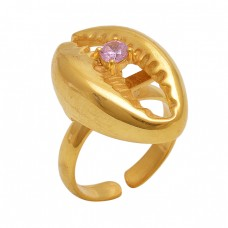 Round  Shape Pink Quartz   Gemstone 925 Sterling Silver Jewelry Gold Plated Ring