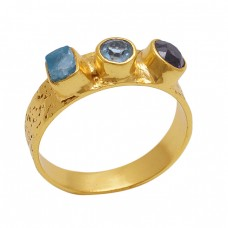 Rough Round  Shape Blue Topaz Apatite Amethyst  Gemstone 925 Sterling Silver Jewelry Gold Plated Ring