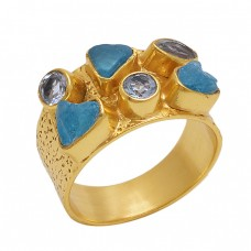 Rough Round  Shape  Apatite Blue Topaz   Gemstone 925 Sterling Silver Jewelry Gold Plated Ring
