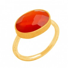 Oval Briolette Carnelian Gemstone Handmade 925 Sterling Silver Gold Plated Ring Jewelry