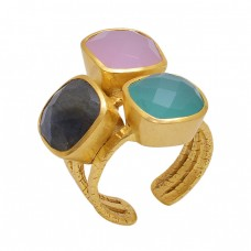 Square  Shape Labradorite Rose Chalcedony Aqua Chalcedony   Gemstone 925 Sterling Silver Jewelry Gold Plated Ring
