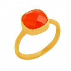 Cushion Shape Carnelian Gemstone 925 Sterling Silver Gold Plated Ring Jewelry
