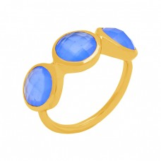 Nice Blue Chalcedony Briolette Round Gemstone 925 Sterling Silver Gold Plated Ring Jewelry