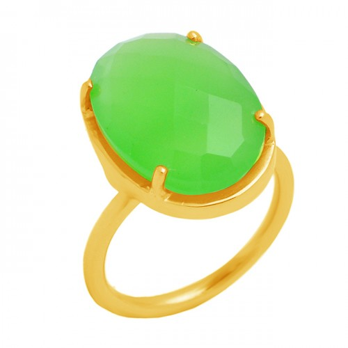 Oval Shape Prehnite Chalcedony Gemstone 925 Sterling Silver Gold Plated Ring