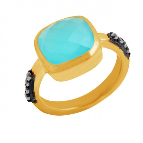 Aqua Chalcedony Cubic Zirconia Gemstone 925 Sterling Silver Gold Plated Ring