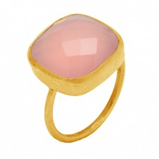 Rose Color Chalcedony Cushion Shape Gemstone 925 Sterling Silver Handmade Gold Plated Ring Jewelry