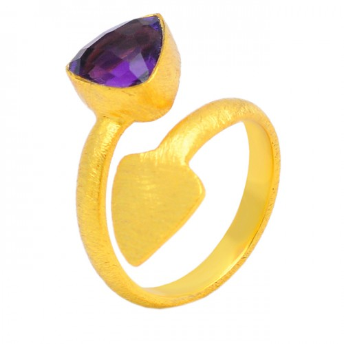 Arrow Shape Designer Amethyst Gemstone 925 Sterling Silver Gold Plated Handcrafted Ring Jewelry