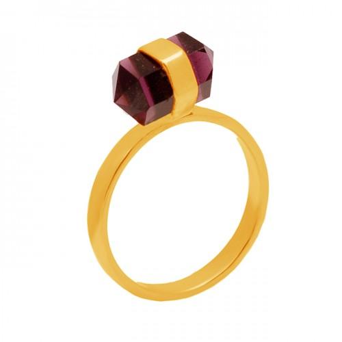Pencil Shape Tiger Eye Gemstone 925 Sterling Silver Gold Plated Designer Ring