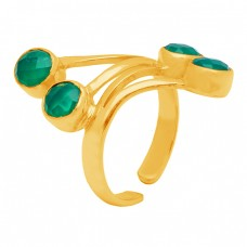 Green Onyx Round Shape Gemstone 925 Sterling Silver Gold Plated Adjustable Ring