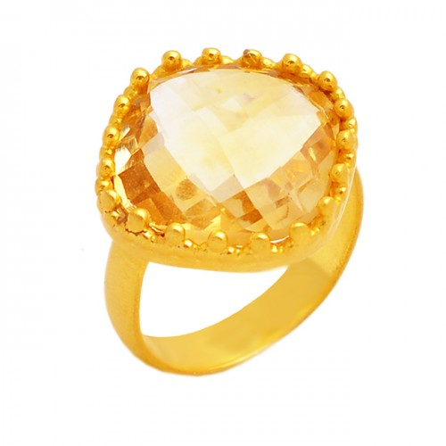 Yellow Citrine Cushion Briolette Gemstone Handmade Designer 925 Sterling Silver Gold Plated Jewelry Ring